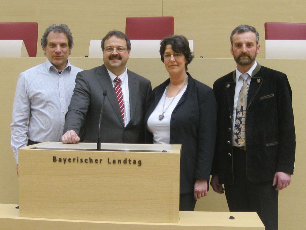 Matthias Demmel – Landtagskandidat, Peter Meyer – Landtagsvizepräsident, Susann Enders – Bundestagskandidatin, Gerhard Weber – Bezirkstagskandidat